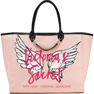 VS LARGE angel wing PINK chain city tote bag purse